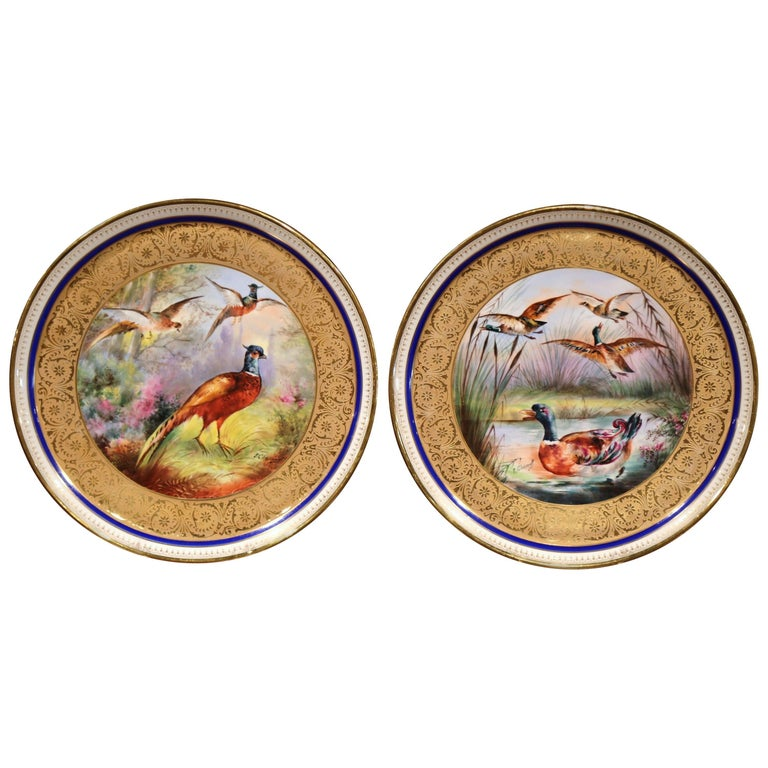Pair of 19th Century French Hand-Painted Porcelain Plates with Duck and Peacock For Sale