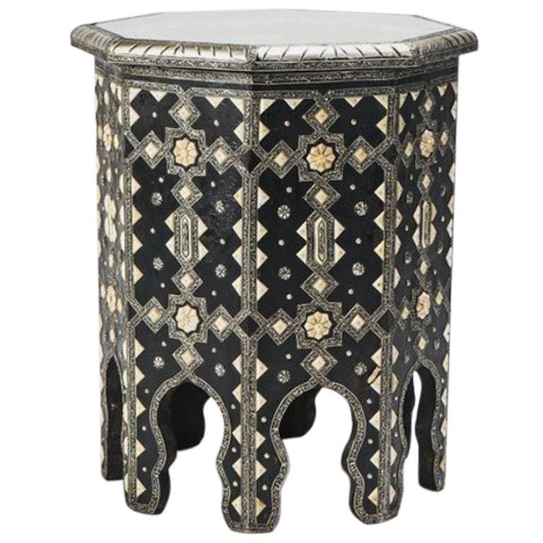 Moroccan Octagonal Camel Bone Side Table
