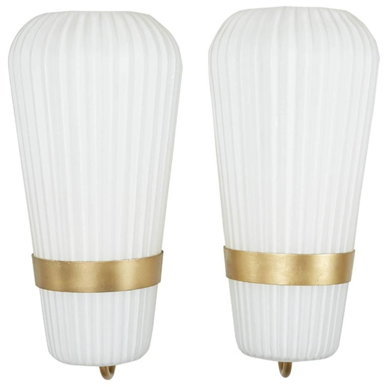 Vintage Pair of Philips Opal Sconces 1