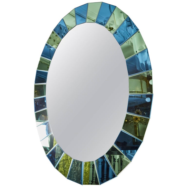 Custom Oval Mirror with Blue and Green Beveled Mirror Squares Surround 1