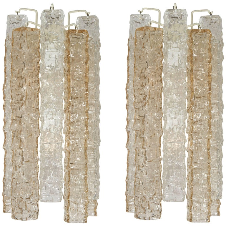 Pair of Venini Smoke and Clear Rectangular Glass Sconces For Sale