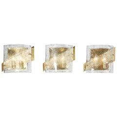 1970s Kalmar Glass Sconce with Brass Frame