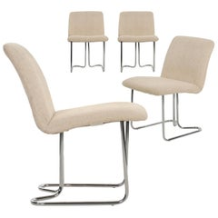 Set of Four Chromed Steel Dining Chairs by Design Institute America, circa 1970s