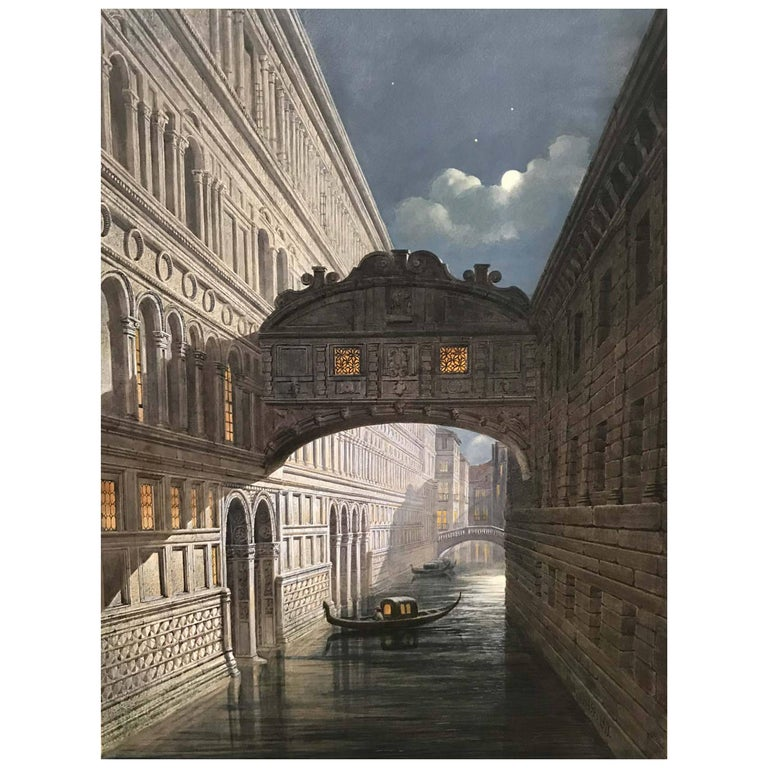 John Chase, Bridge of Sighs, Watercolor, Dated 1871