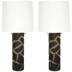 Pair of Deep Cut Frosted Black and White Giraffe Vivarini Murano Glass Lamps
