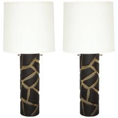 Pair of Deep Cut Frosted Black and White Giraffe Vivarini Murano Glass Lamps