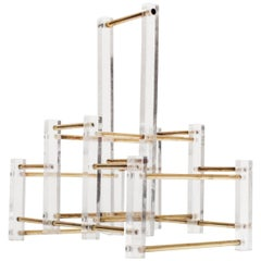 French, 1970s Acrylic and Brass Wine Rack