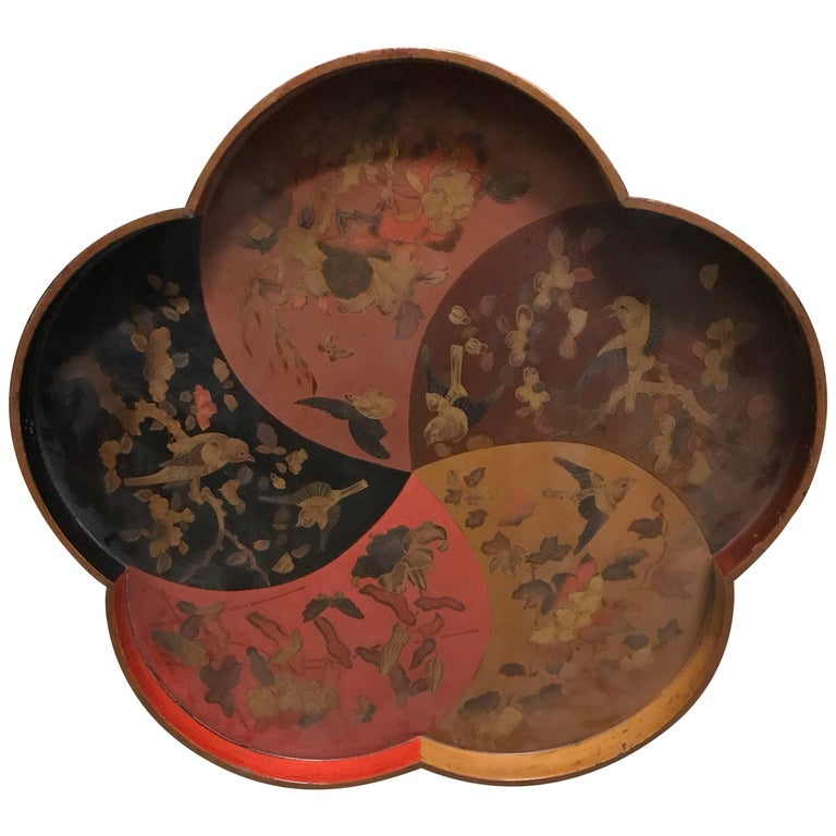 Flower Shaped Lacquer Tray For Sale