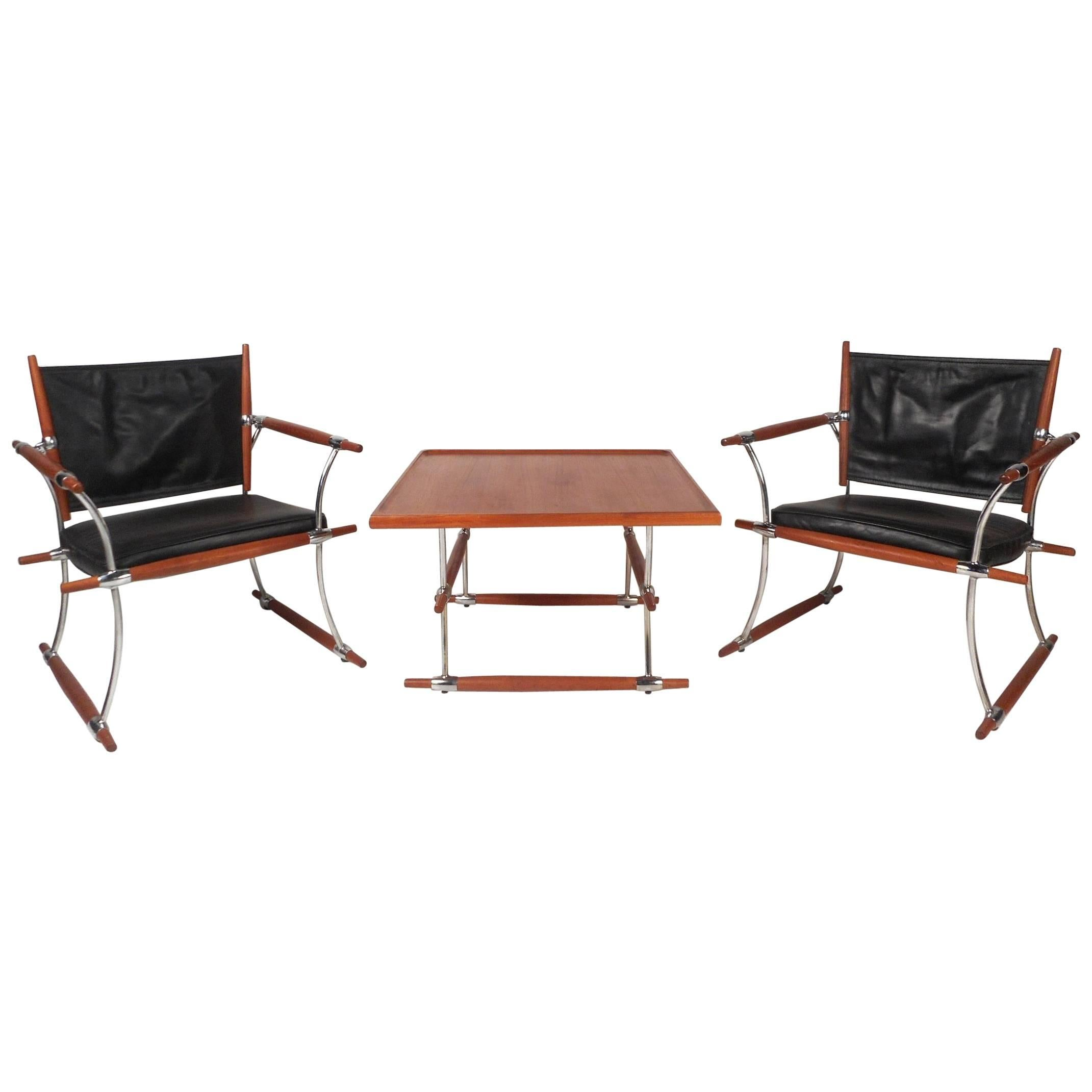 """Exquisite Mid-Century Modern """"Stokke"""" Jens Quistgaard Lounge Chairs and Table"""