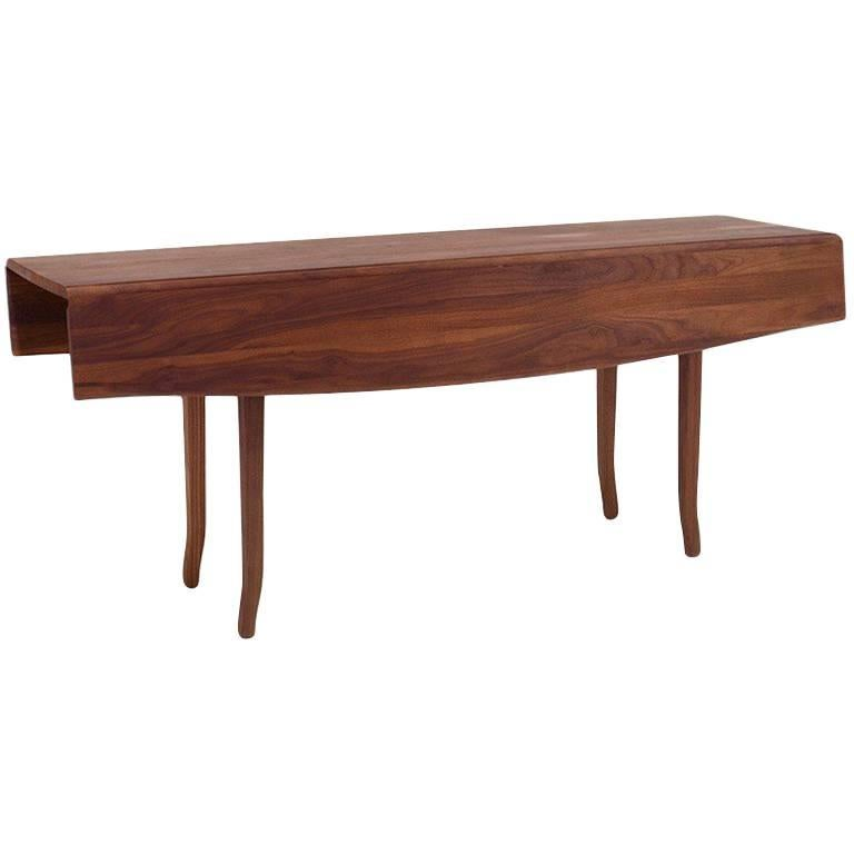 Walnut Auberon Folding Drop Leaf Dining Table For Sale At
