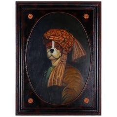 Oil Painting of Dog with Turban