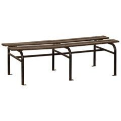 Vintage French Iron and Wood Garden Bench, circa 1930