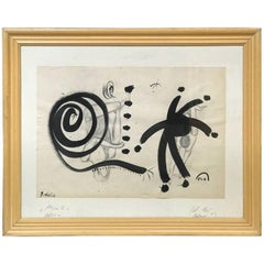 Peter Keil Abstract Painting Homage to Miro, Framed