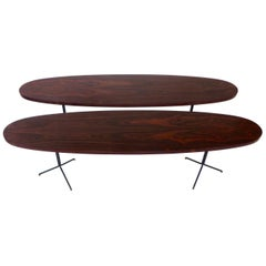 Osvaldo Borsani for Tecno Oval Rosewood Coffee Tables on Metal Legs