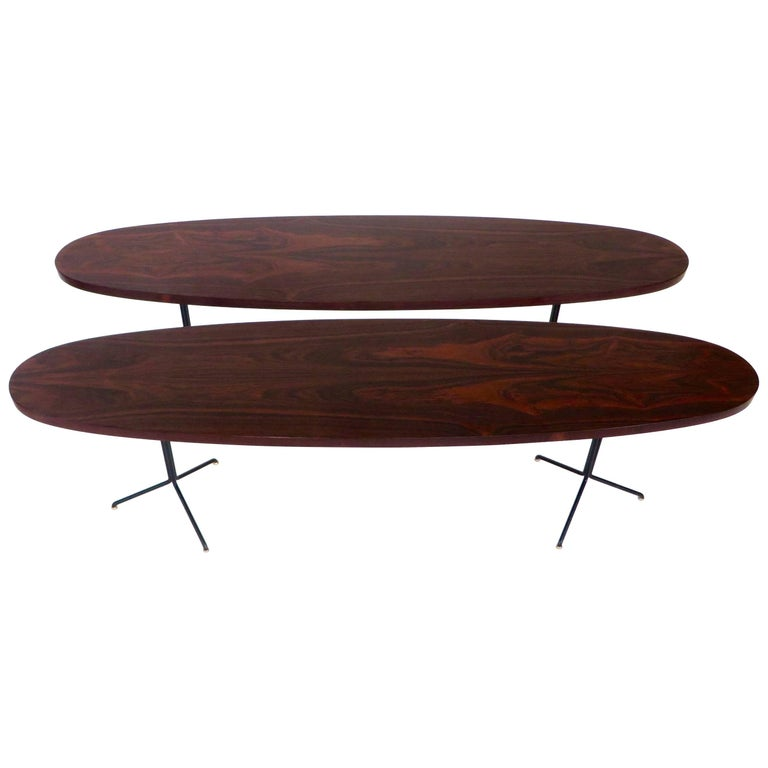 Oval Coffee Table With Metal Legs: Pair Of Osvaldo Borsani For Tecno Oval Rosewood Coffee