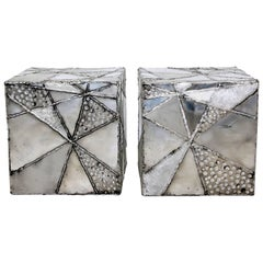 "Contemporary Modern Chrome Cube Side End Tables Paul Evans ""Argente"" Style, Pair"