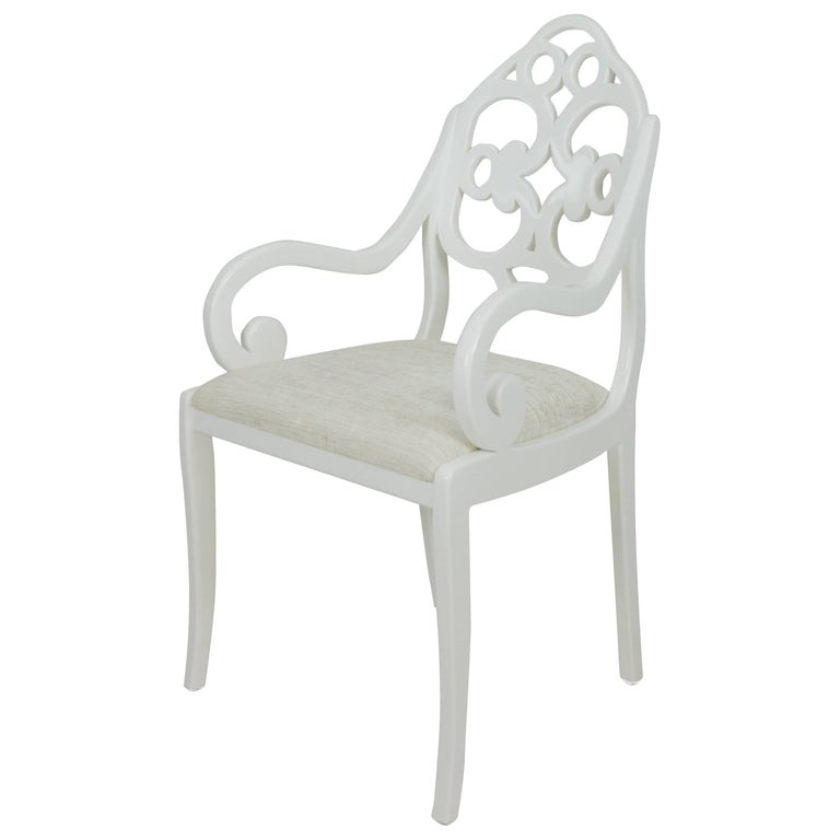 Hand-carved English Regency-inspired American dining chairs For Sale