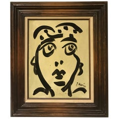 Peter Keil Neo-Expressionist Painting of an Abstract Face