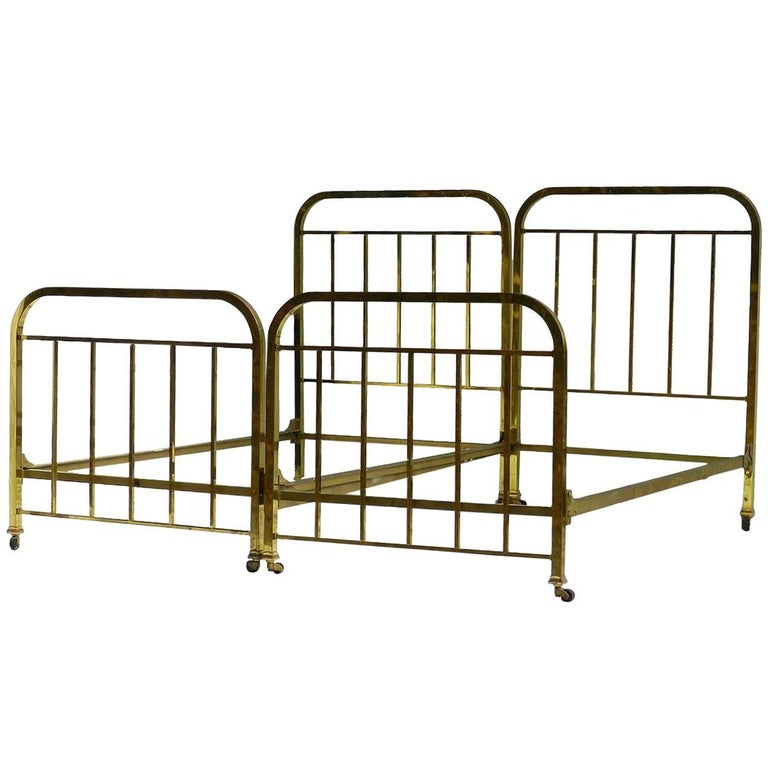 Pair of Art Deco Brass Beds French Single Twin circa 1930 with Makers Label