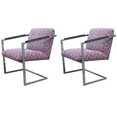 Pair of Architectural Chrome Chairs in the Manner of Milo Baughman