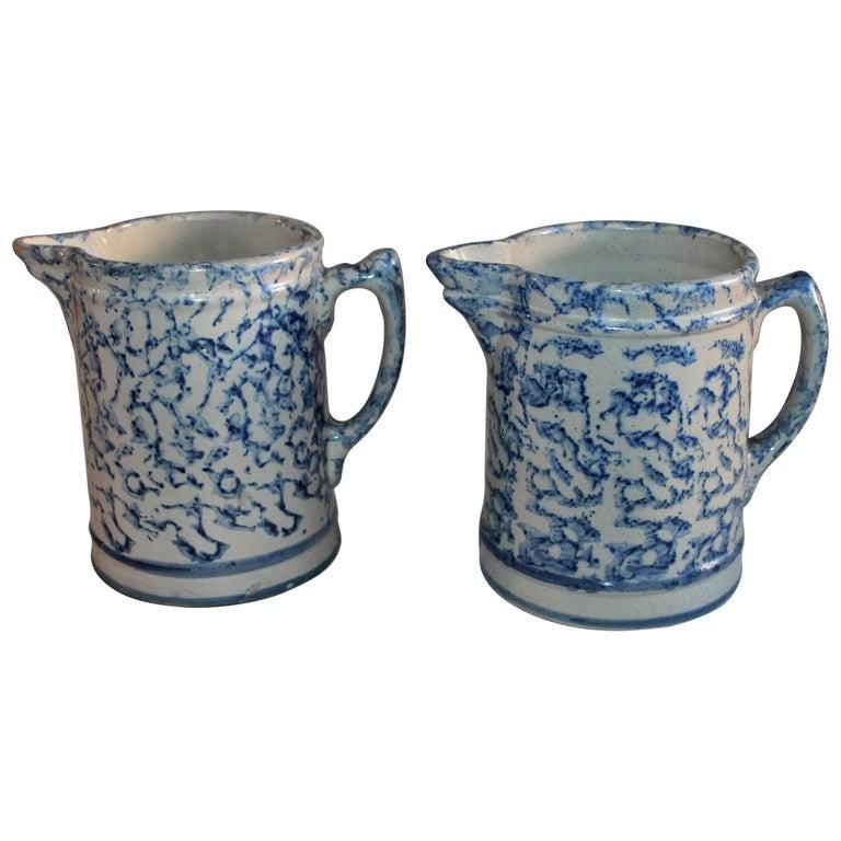 Spongeware 19th Century Pottery Pitchers, Pair