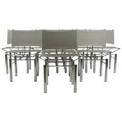 Set of Eight Hans Ulrich Bitsch Series 8600 Woven Steel Chairs for Kusch & Co
