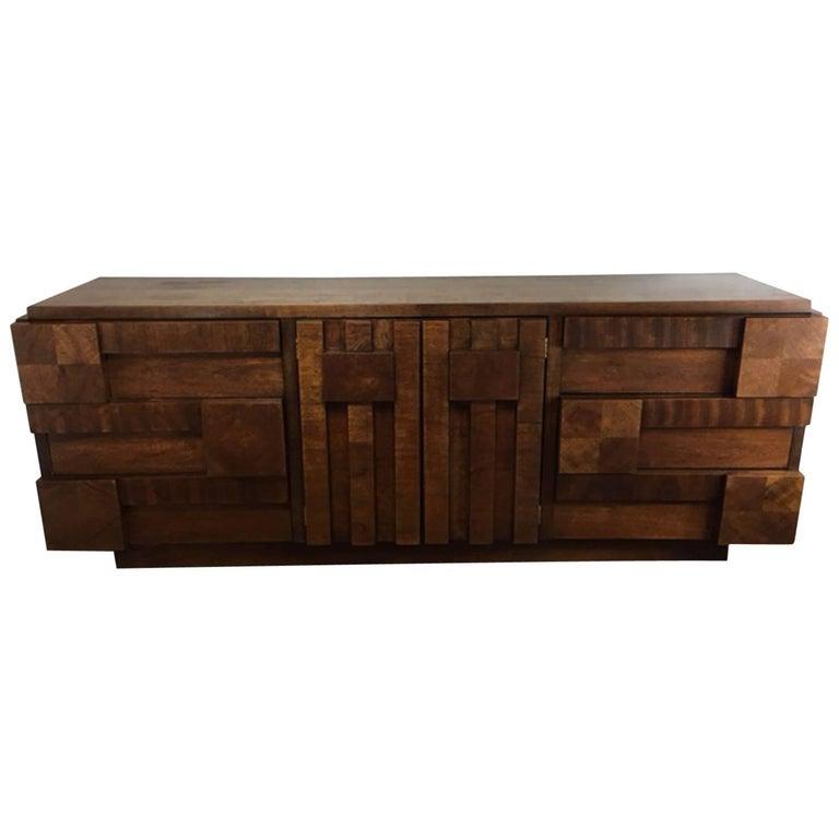 Patchwork Brutalist Dresser or Credenza by Altavista Lane 1