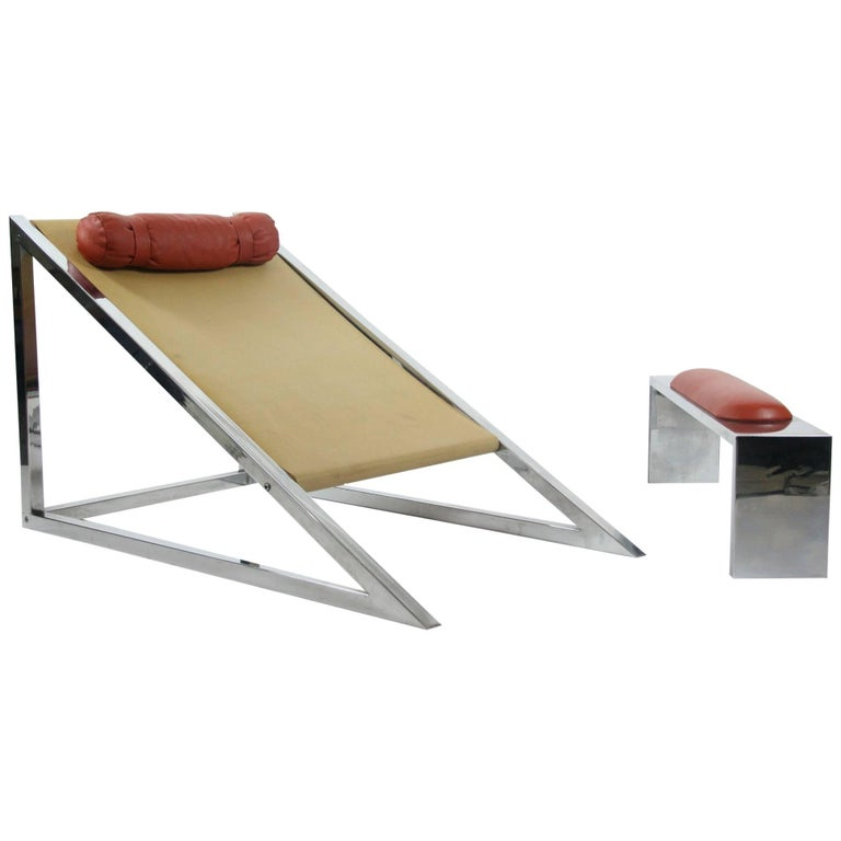 Mies Chair and Ottoman, Archizoom Associati, 1969 For Sale