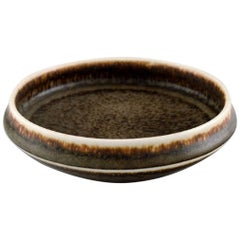 Carl-Harry Stålhane, Rørstrand, Pottery Dish, Beautiful Glaze in Brown Shades