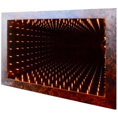 Massive Burl Wood Rectangular Infinity Mirror by Merit
