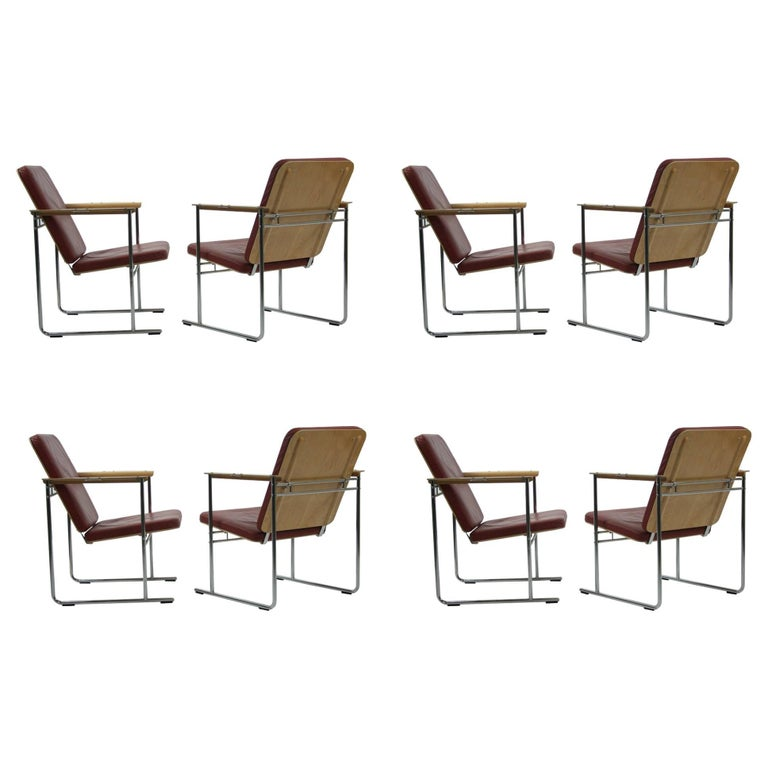 Set of Eight Skaala Leather and Beech Armchairs by Yrjö Kukkapuro For Sale