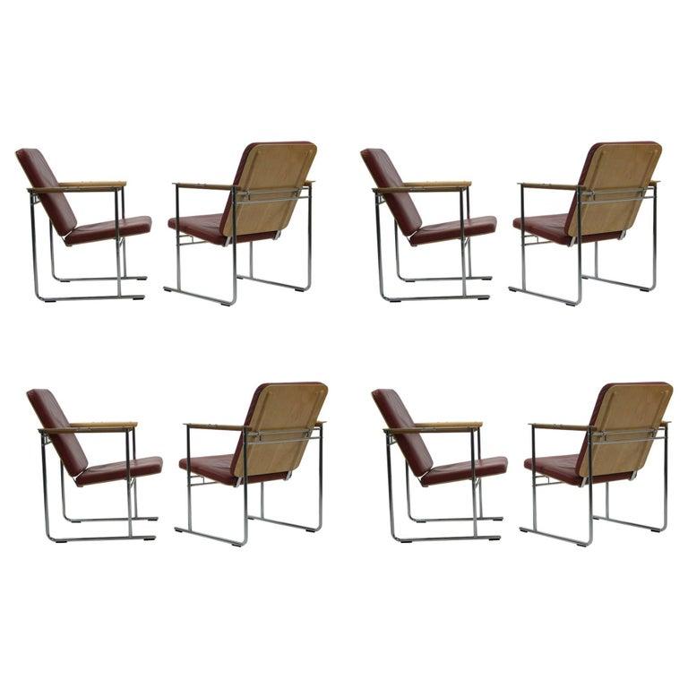 Set of Eight Skaala Leather and Beech Armchairs by Yrjö Kukkapuro
