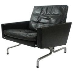 Poul Kjærholm PK-31/1 Lounge Chair by E. Kold Christensen in Black Leather