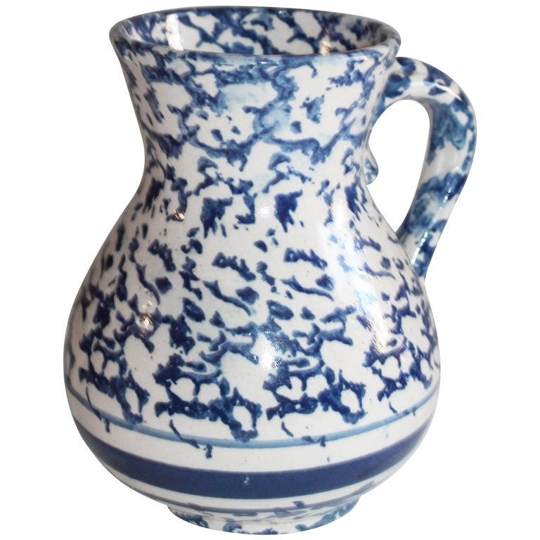 Sponge Ware Pottery Pitcher For Sale