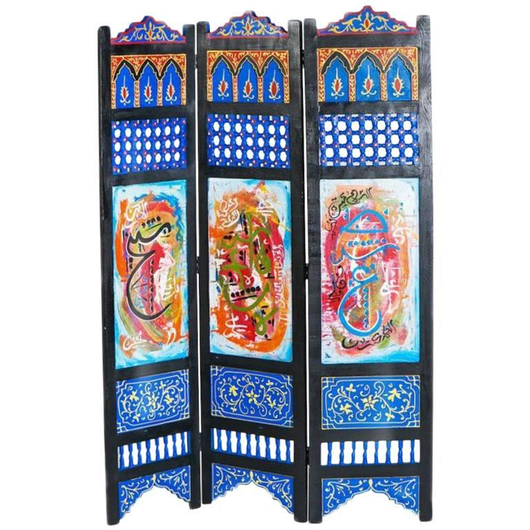 Hand Painted Moroccan Room Divider or Folding Screen For Sale at 1stdibs