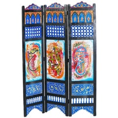Hand-Painted Moroccan Room Divider or Folding Screen