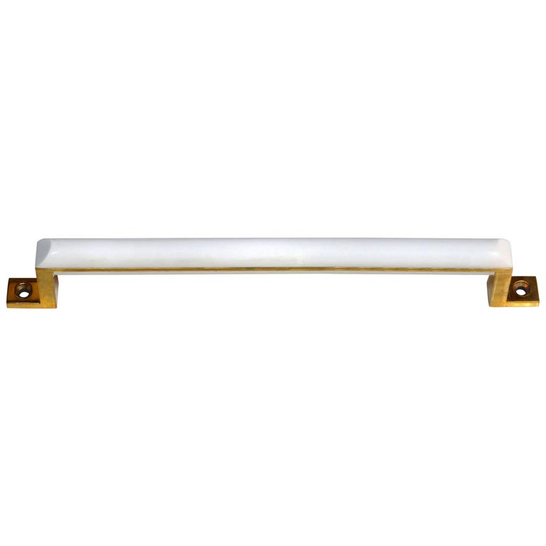 Normandie Door/Appliance Pull, Baked White Enamel and Polished Brass