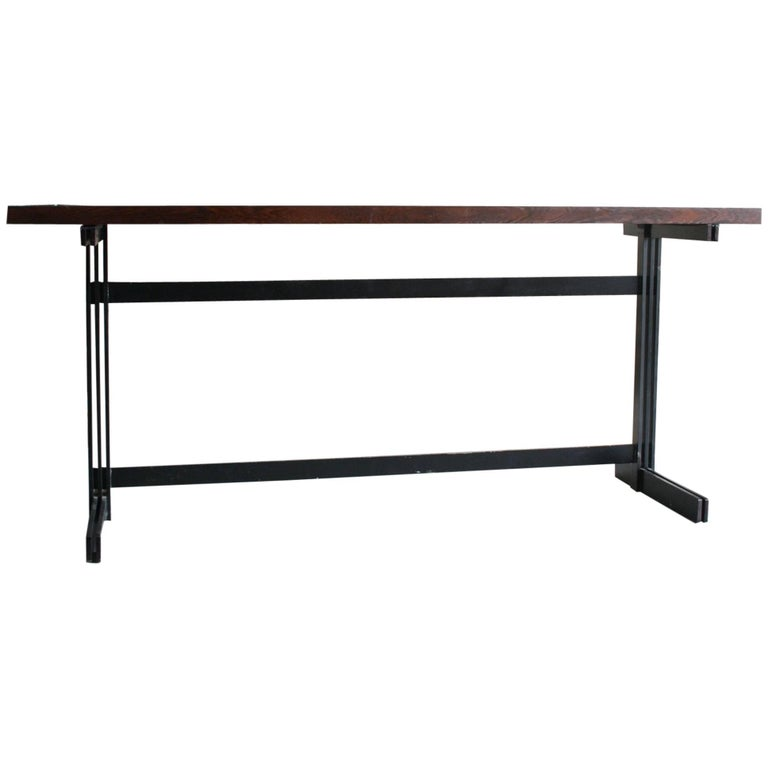 Jules Wabbes Le Mobilier Universel Belgium Wenge and Steel Console For Sale