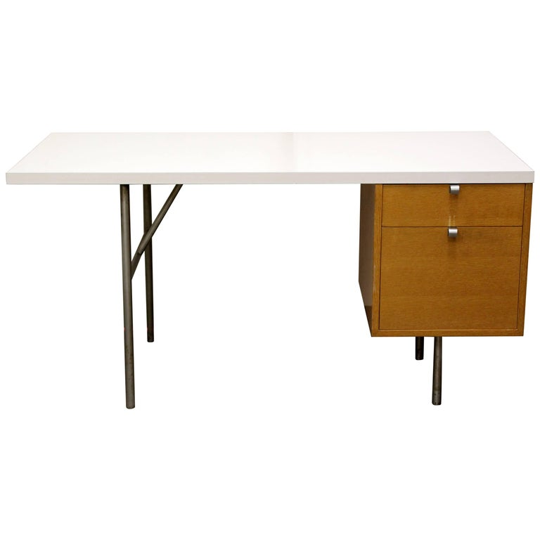 Mid Century Modern Wood And Steel Two Drawer Desk George