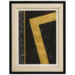 Nakazawa Shinichi Black and Gold Leaf Print