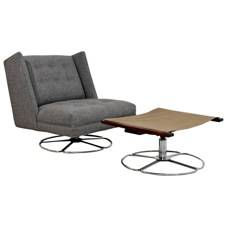 Mid-Century Modern Low Gray Swivel Chair and Ottoman Chrome Base Baughman Era