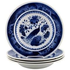 Peacock from Copenhagen Faience or Aluminia, Deep Plate in Faience, Four Pieces