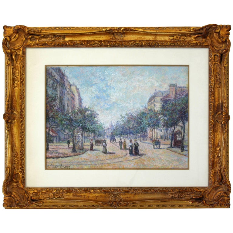 Art Deco Framed H. Claude Pissarro Signed Pastel in Pointallism Original