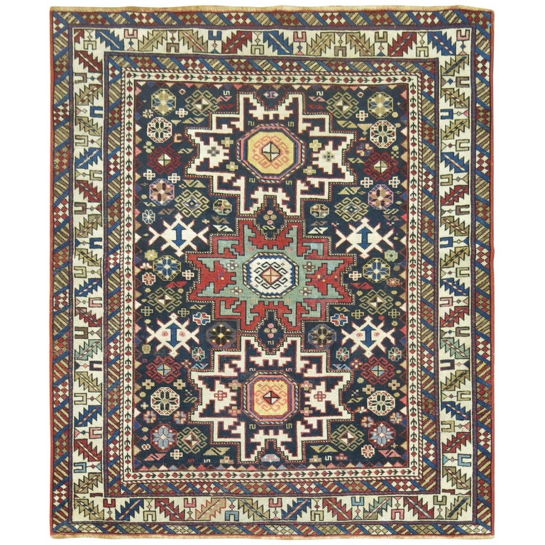 Caucasian Shirvan Square Rug For Sale