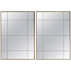 Pair of Large Gold Frame Antiqued Mirrors