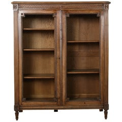 Late 19th Century Louis XVI Style Hand-Carved Walnut Bibliotheque or Bookcase