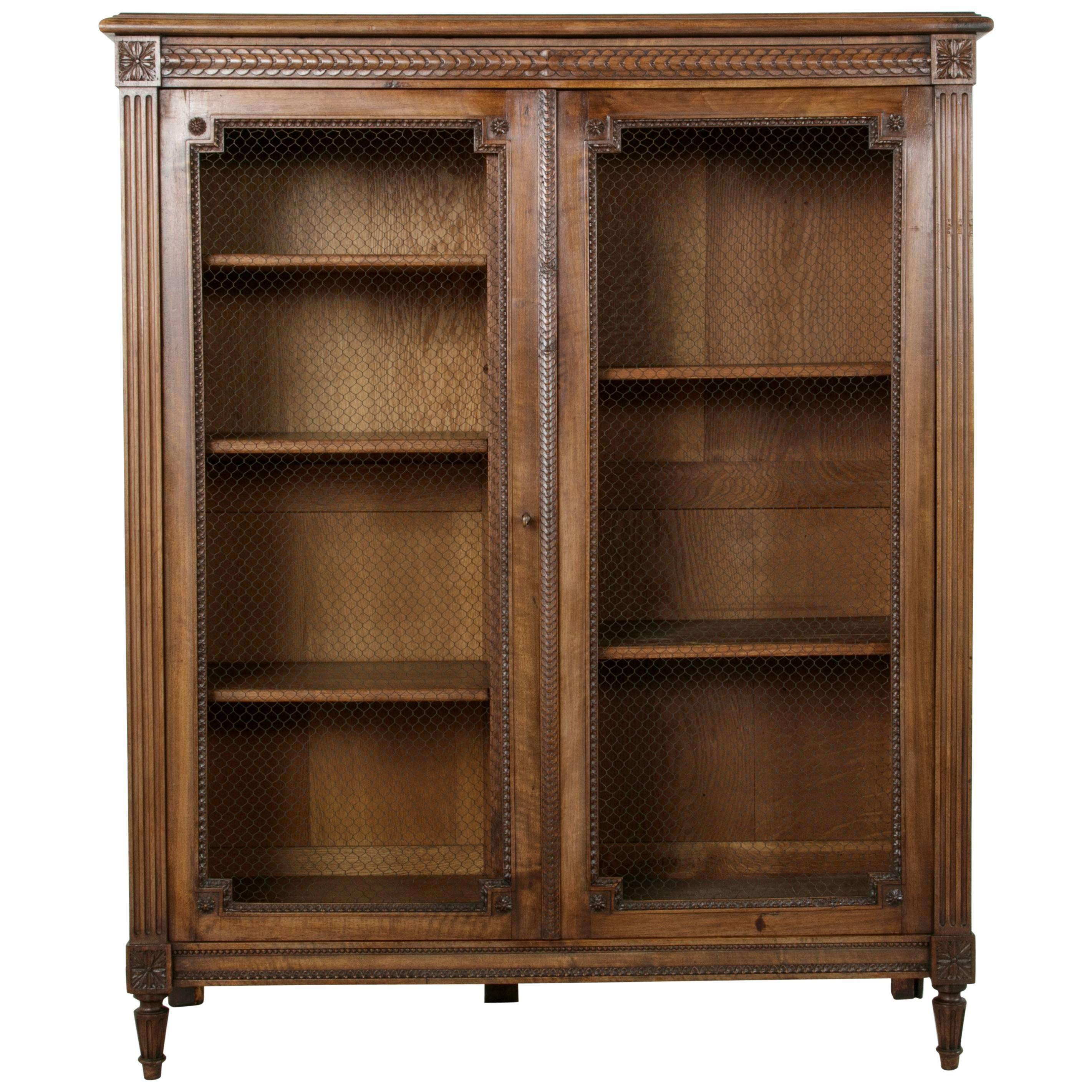 late 19th century louis xvi style handcarved walnut or bookcase