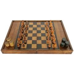 Artisan-Made Parquetry Game Box or Board, Chess Checkers Backgammon, circa 1900