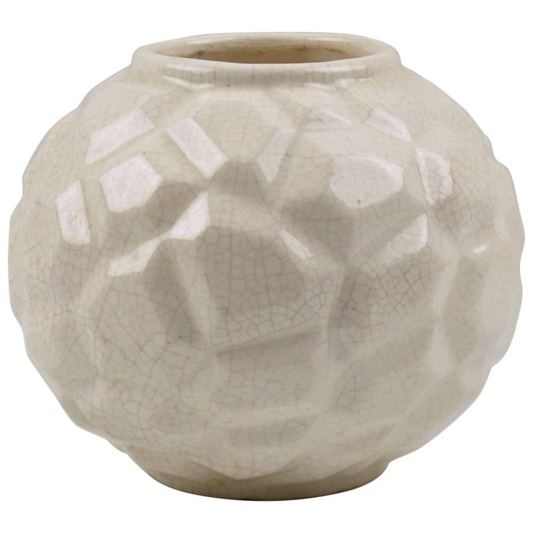 French Art Deco 1930s Saint Clement Crackle Glaze Ceramic Vase