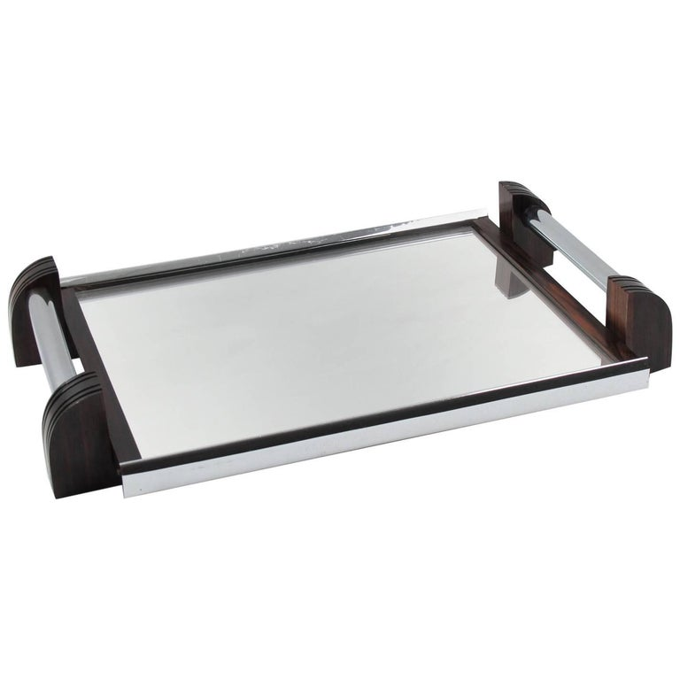 French Art Deco Chrome and Mirror Serving Tray with Macassar Wood Handles